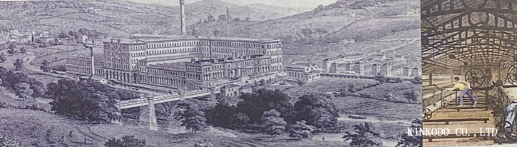 ソルテアの工場村を描く19世紀の版画